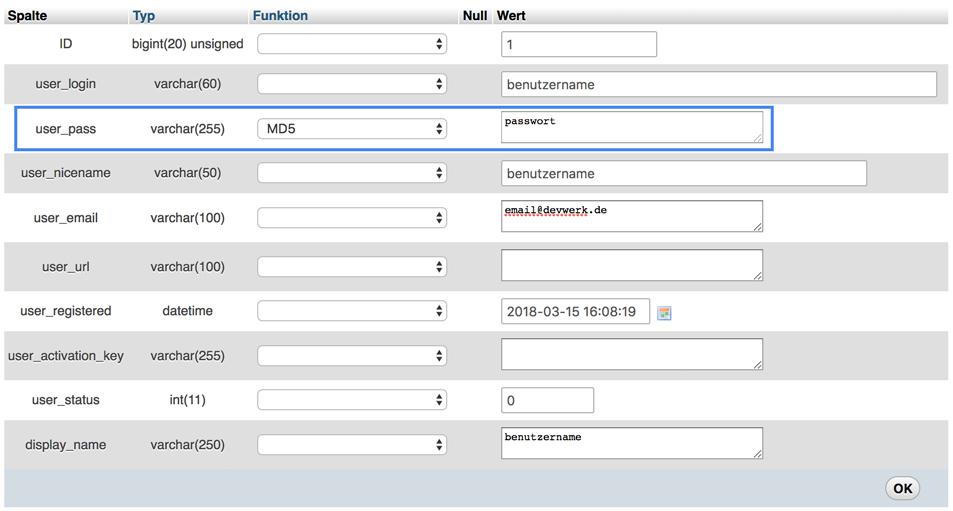 WordPress Passwort mit PHPMyAdmin zurücksetzen